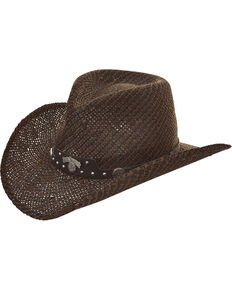 Jack Daniel's Men's Twisted Toyo Straw Western Hat , Dark Brown, hi-res