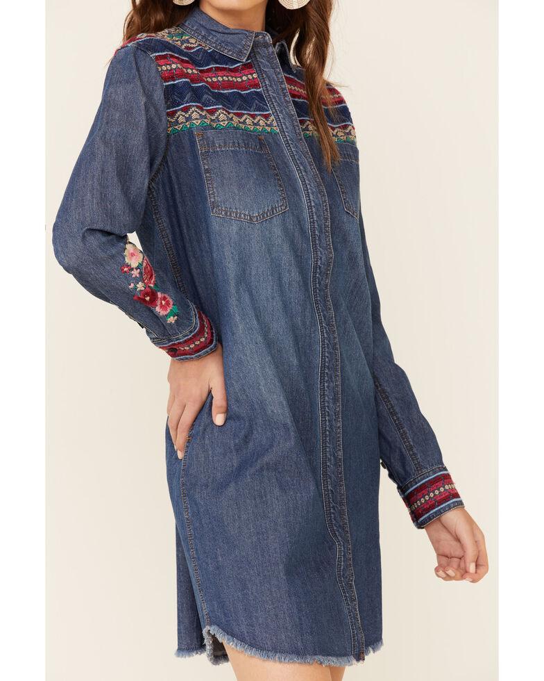 Stetson Women's Denim Aztec Stripe Dress, Blue, hi-res