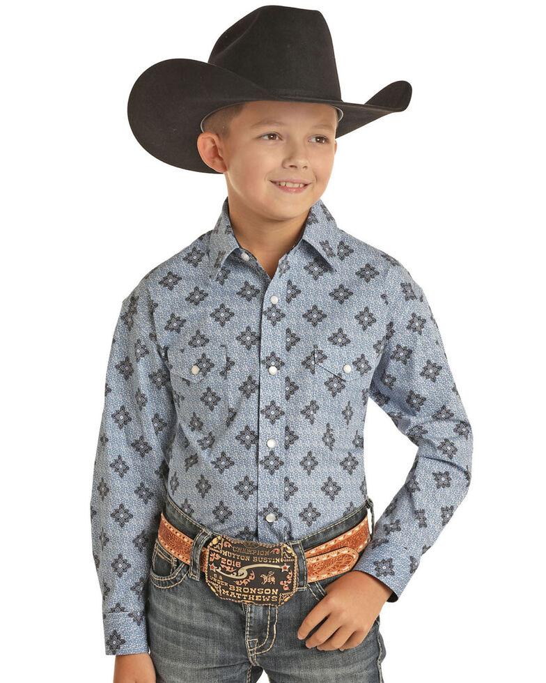Panhandle Select Boys' Blue Medallion Poplin Print Long Sleeve Western Shirt , Blue, hi-res