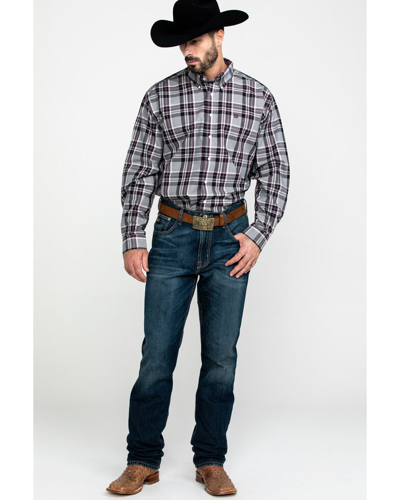 Cinch Men's Multi Large Plaid Woven Long Sleeve Western Shirt , Purple, hi-res
