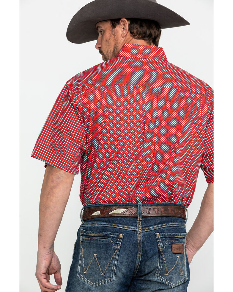 Cinch Men's Red Tencel Geo Print Short Sleeve Western Shirt - Big & Tall , Red, hi-res