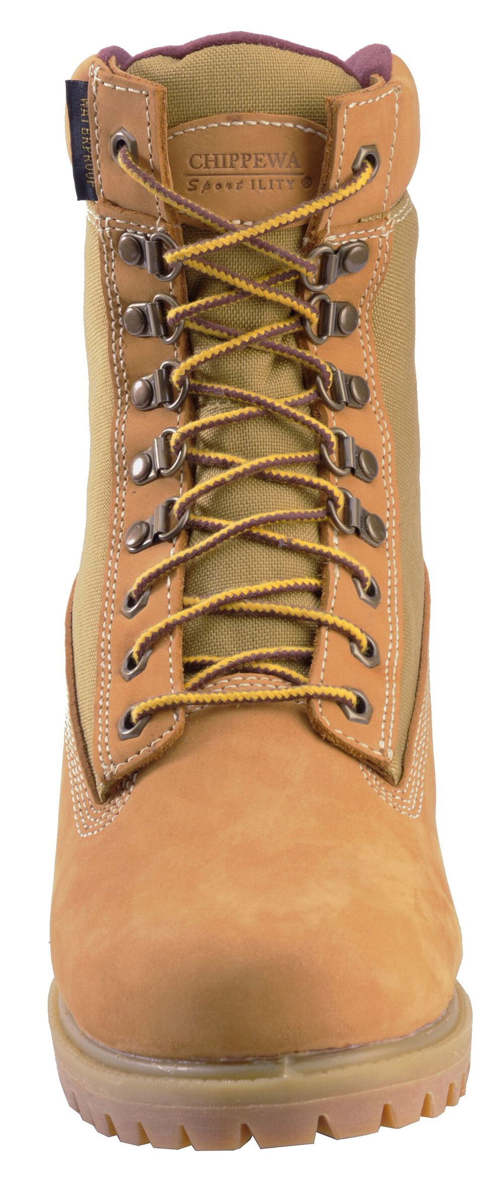 """Chippewa Nubuc Waterproof & Insulated 8"""" Lace-Up Work Boots - Round Toe, Golden Tan, hi-res"""