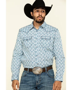 Cody James Men's Flower Drop Small Geo Print Long Sleeve Western Shirt , White, hi-res
