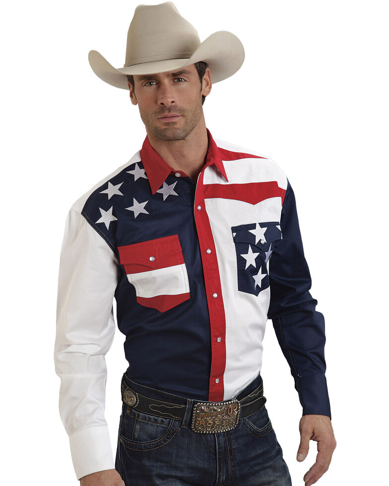 Roper Americana Collection Men's Stars and Stripes Print Long Sleeve Western Shirt, Patriotic, hi-res