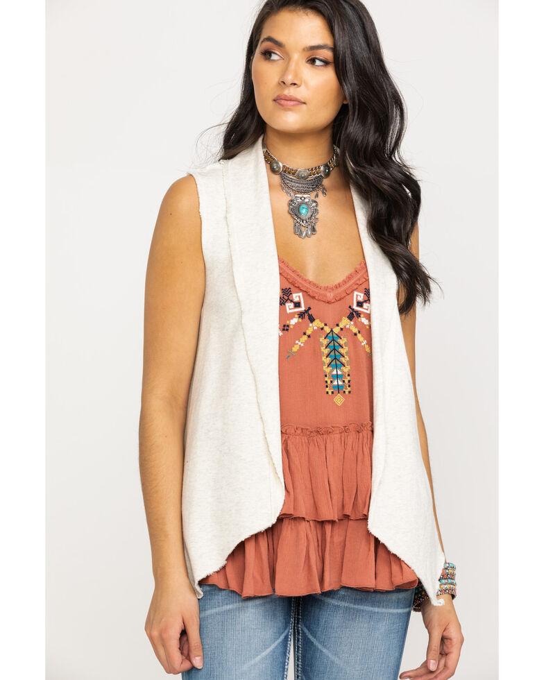 Shyanne Women's Grey Crochet Floral Drape Vest , Heather Grey, hi-res
