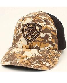 Ariat Men's Digital Camo Print Embroidered Shield Logo Ball Cap , Camouflage, hi-res