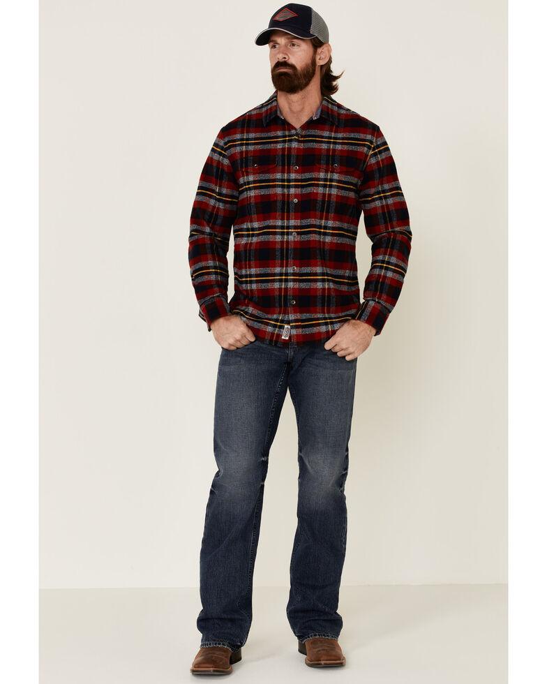 Flag & Anthem Men's Ames Stretch Plaid Long Sleeve Western Flannel Shirt , Red, hi-res