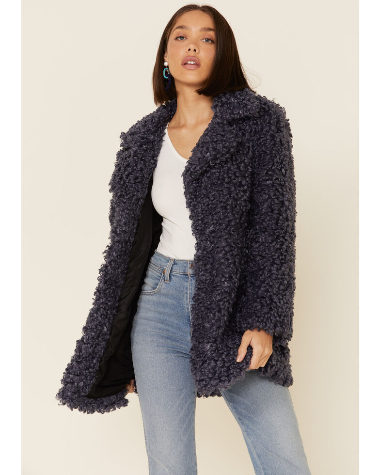 Angie Women's Blue Sherpa Open Front Jacket, Blue, hi-res