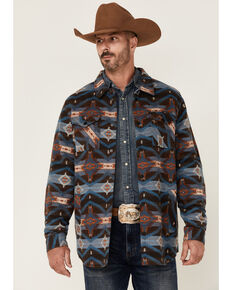 Rock & Roll Denim Men's Brown Jacquard Aztec Print Snap-Down Shirt Jacket , Brown, hi-res
