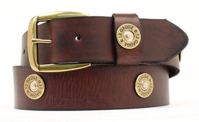 Nocona Brown Western Bullet Belt - Large, Brown, hi-res