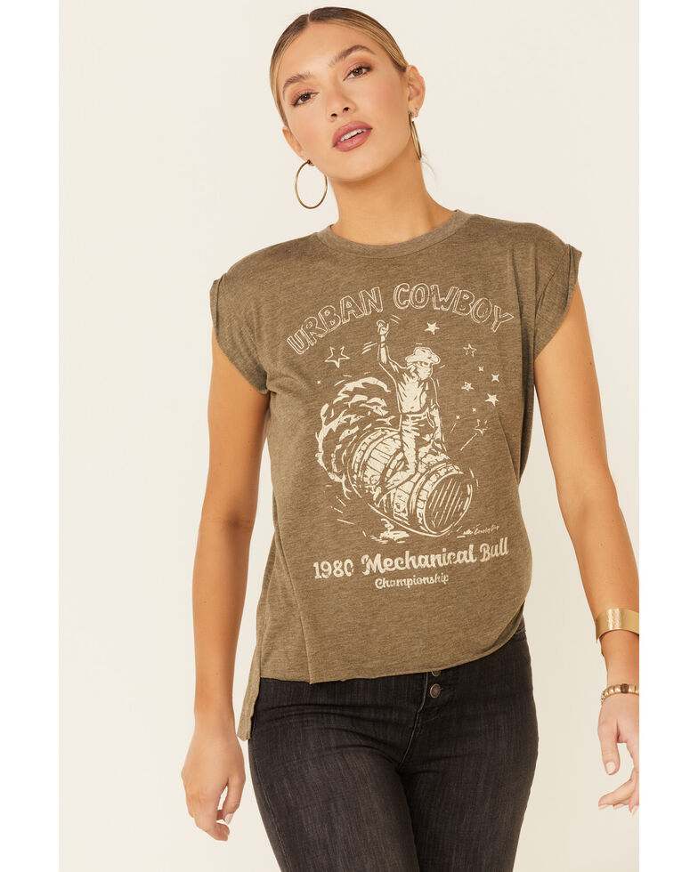Country Deep Women's Olive Urban Cowboy Graphic Short Sleeve Tee , Olive, hi-res