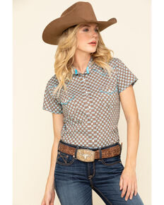 Rough Stock by Panhandle Women's Brown Geo Short Sleeve Western Shirt, Turquoise, hi-res