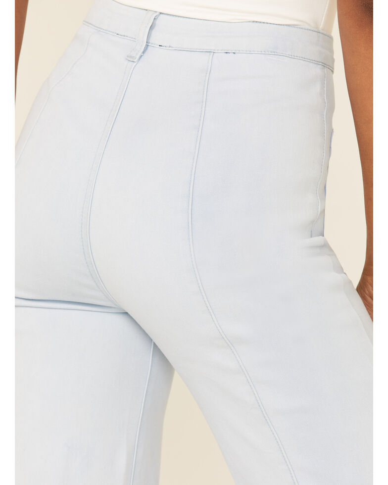 Flying Tomato Women's Front Pocket Flare Leg Jeans, Blue, hi-res