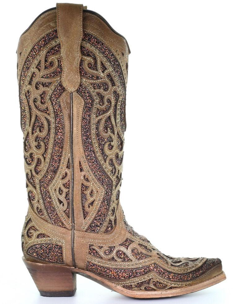 Corral Women's Golden Glitter Western Boots - Snip Toe, Gold, hi-res