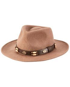 San Diego Hat Company Men's Camel Faux Leather Wool Felt Fedora Hat, Camel, hi-res