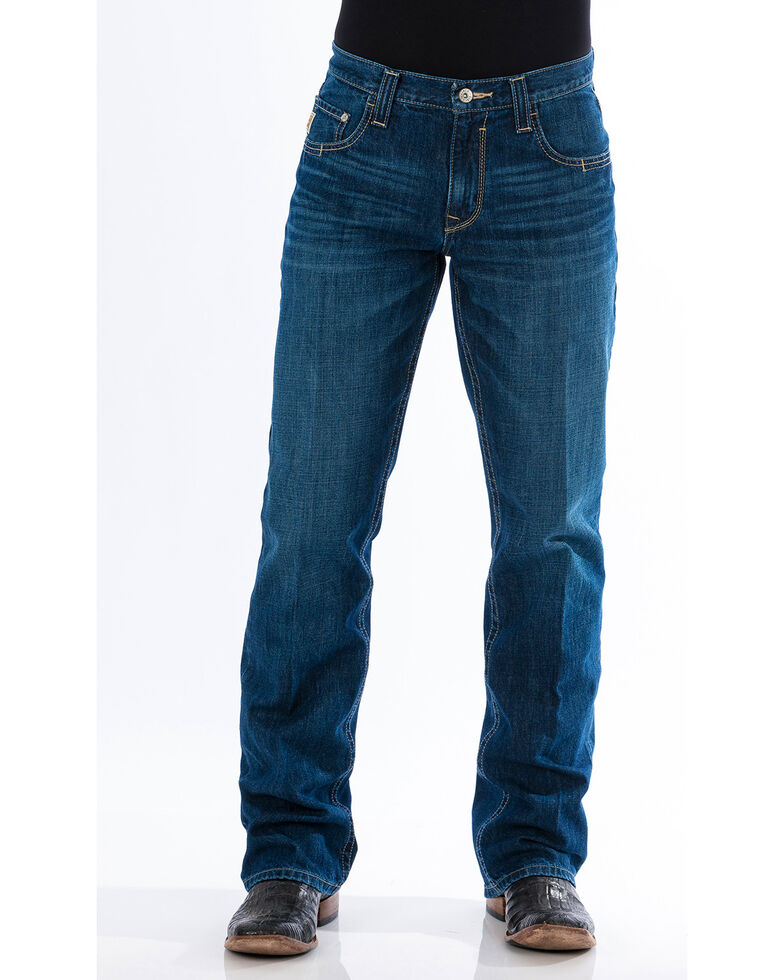 Cinch Men's Carter 2.0 Dark Stonewash Relaxed Fit Bootcut Jeans, Indigo, hi-res