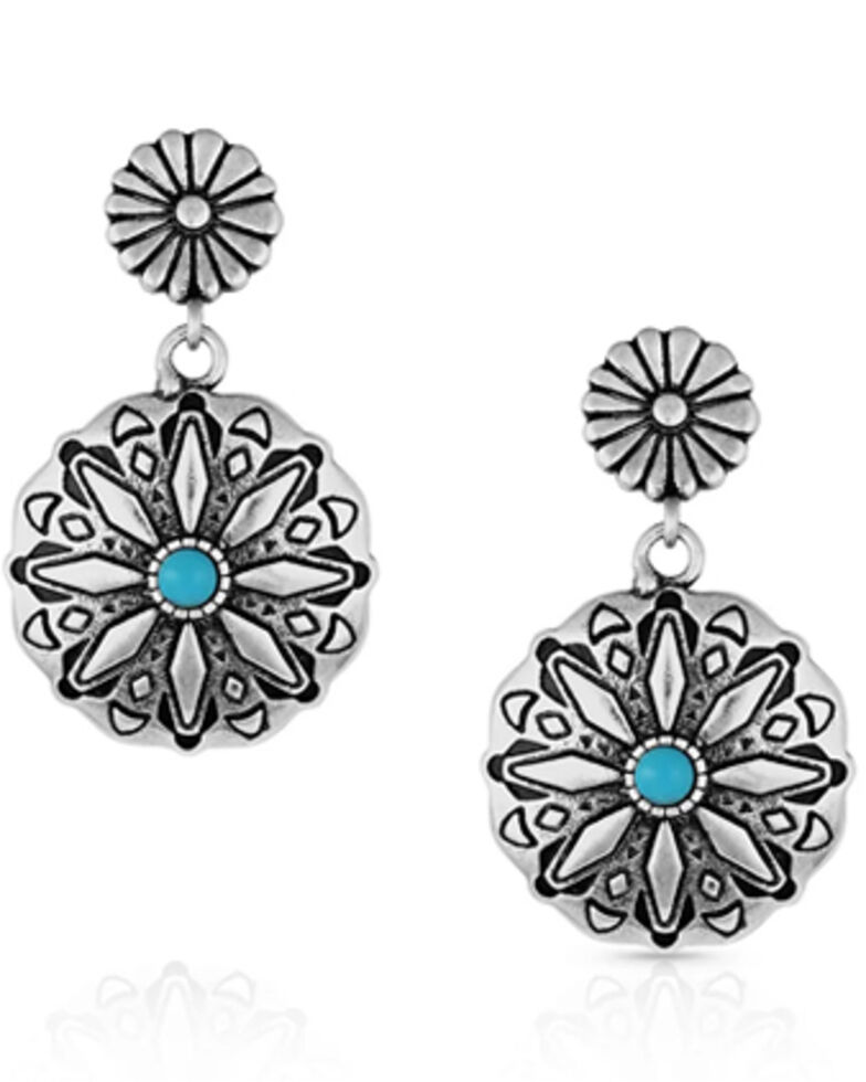 Montana Silversmiths Women's Starbrite Turquoise Coin Earrings, Silver, hi-res