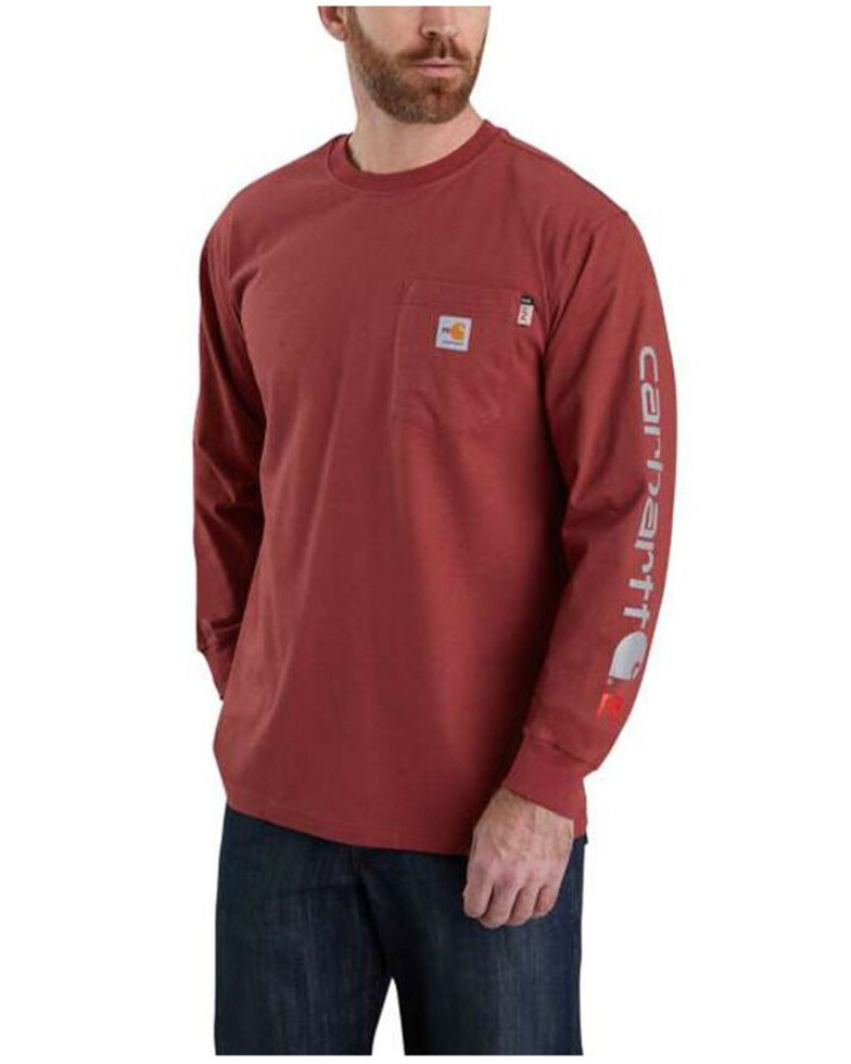 Carhartt Men's FR Heather Red Force Midweight Signature Long Sleeve Work T-Shirt - Big , Heather Red, hi-res