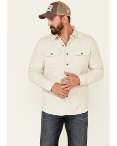 Pendleton Men's Solid Natural Burnside Long Sleeve Button-Down Western Flannel Shirt , Natural, hi-res
