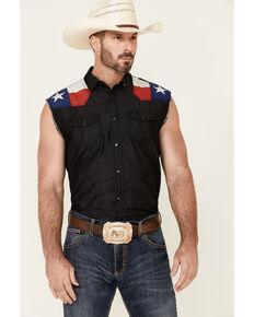 Cody James Men's Texas Flag Bubba Sleeveless Snap Western Shirt , Black, hi-res