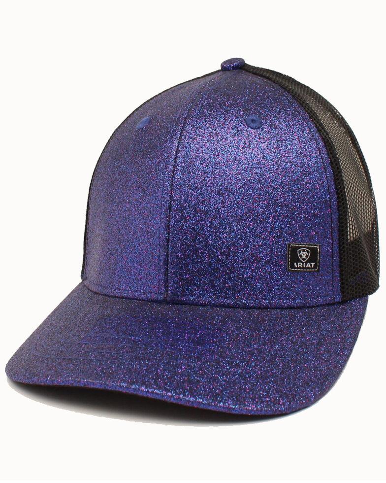 Ariat Women's Purple Glitter Corner Patch Mesh Cap , Purple, hi-res