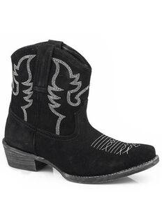 Roper Women's Black Dusty II Suede Western Booties - Snip Toe, Black, hi-res