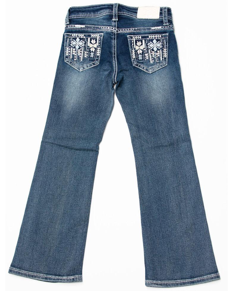 Grace in LA Toddler Girls' Aztec Bootcut Jeans, Blue, hi-res