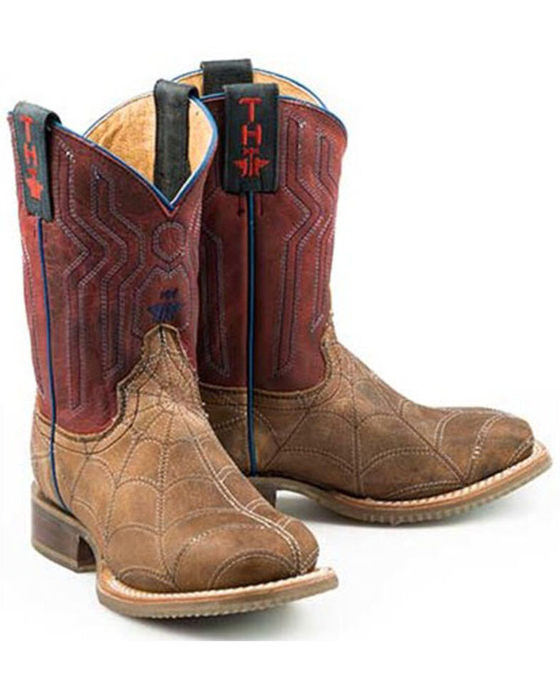 Tin Haul Boys' Spider Stitch Western Boots - Square Toe, Brown, hi-res