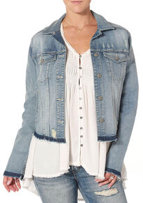 Silver Women's Denim Jacket with Fray, Indigo, hi-res