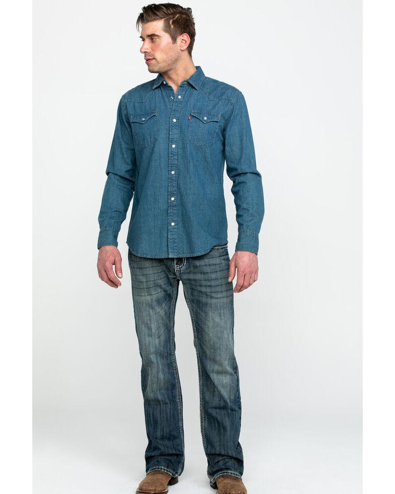 Levi's Men's Stonewash Denim Long Sleeve Western Shirt, Multi, hi-res