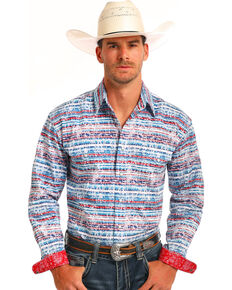 Rough Stock by Panhandle Men's Blue Faded Stripe Shirt , Blue, hi-res
