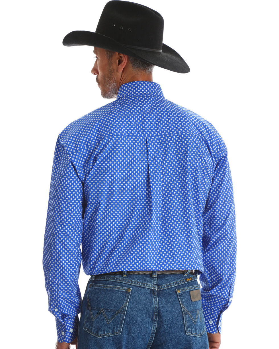 George Strait by Wrangler Men's Blue Long Sleeve Western Shirt , Blue, hi-res
