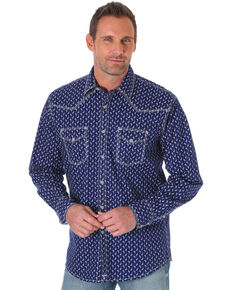 Wrangler 20X Men's Competition Advanced Comfort Long Sleeve Western Shirt - Big & Tall, Navy, hi-res