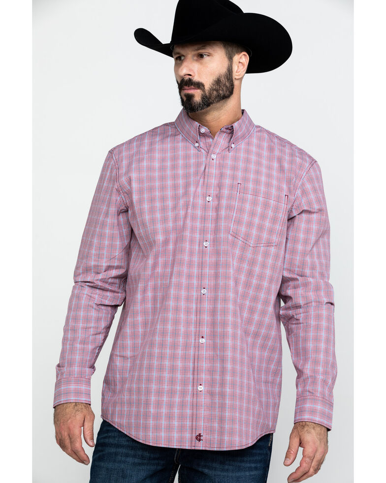 Cody James Core Men's Picnic Small Plaid Long Sleeve Western Shirt , Red, hi-res