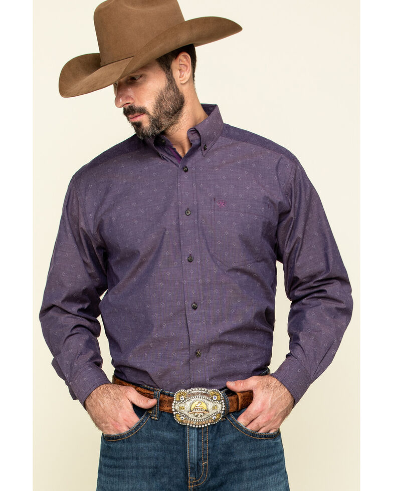 Ariat Men's Rupert Dobby Geo Print Long Sleeve Western Shirt - Tall , Purple, hi-res