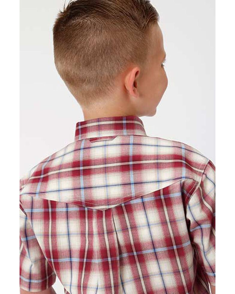 Amarillo Boys' Vintage Plaid Button Short Sleeve Western Shirt , Red, hi-res