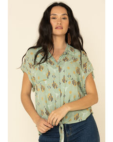 Ariat Women's Sun Kissed Short Sleeve Western Shirt  , Sage, hi-res