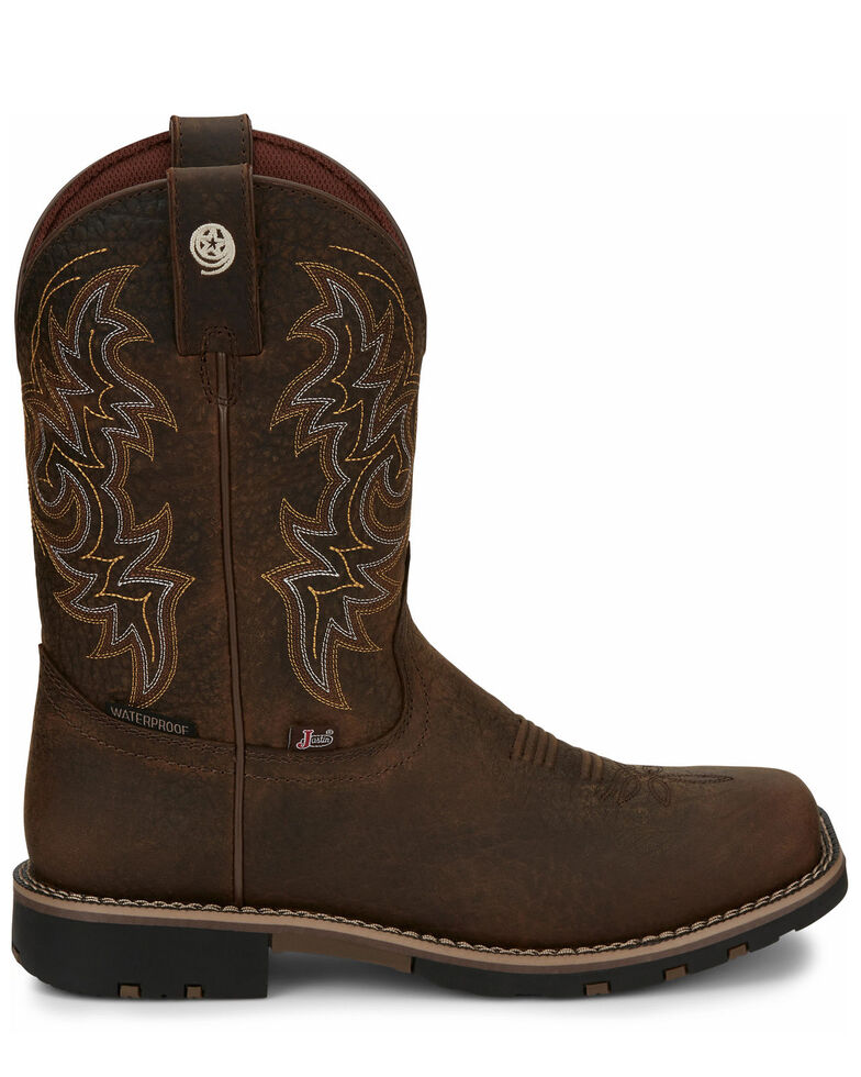 Justin Men's Fireman Brown Western Boots - Square Toe, Brown, hi-res