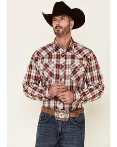 Roper Men's Red Vintage Dobby Plaid Long Sleeve Snap Western Shirt , Red, hi-res