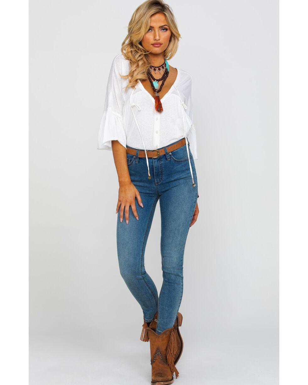 Free People Women's Indigo Long & Lean Light Slim Skinny Jeans , Blue, hi-res