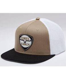 Kimes Ranch Men's Beige & White On Point Shield Logo Patch Mesh-Back Trucker Cap, Beige/khaki, hi-res