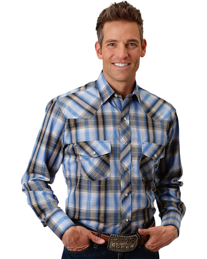 Roper Men's Blue Plaid Snap Long Sleeve Western Shirt, Blue, hi-res