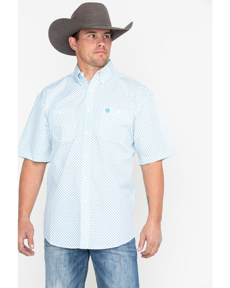 George Strait by Wrangler Men's Turquoise Short Sleeve Western Shirt - Big & Tall, Turquoise, hi-res