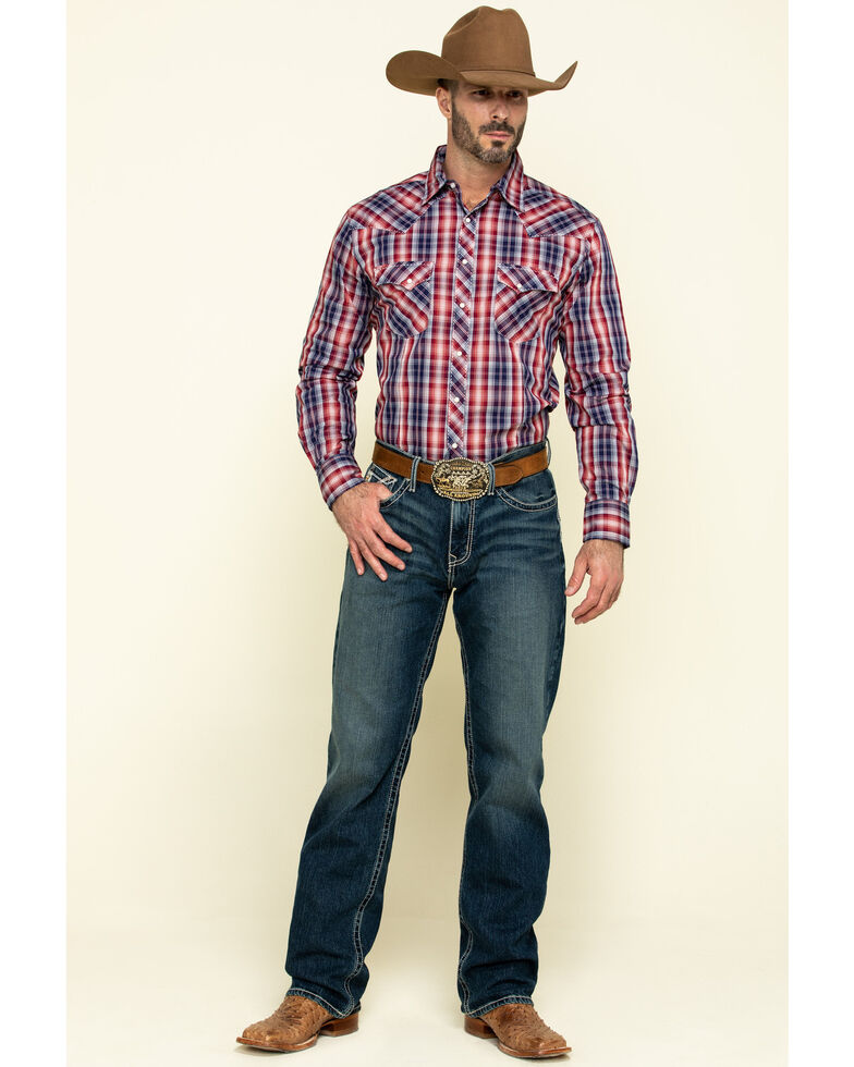 Wrangler Men's Fashion Snap Red Small Plaid Long Sleeve Western Shirt, Red, hi-res
