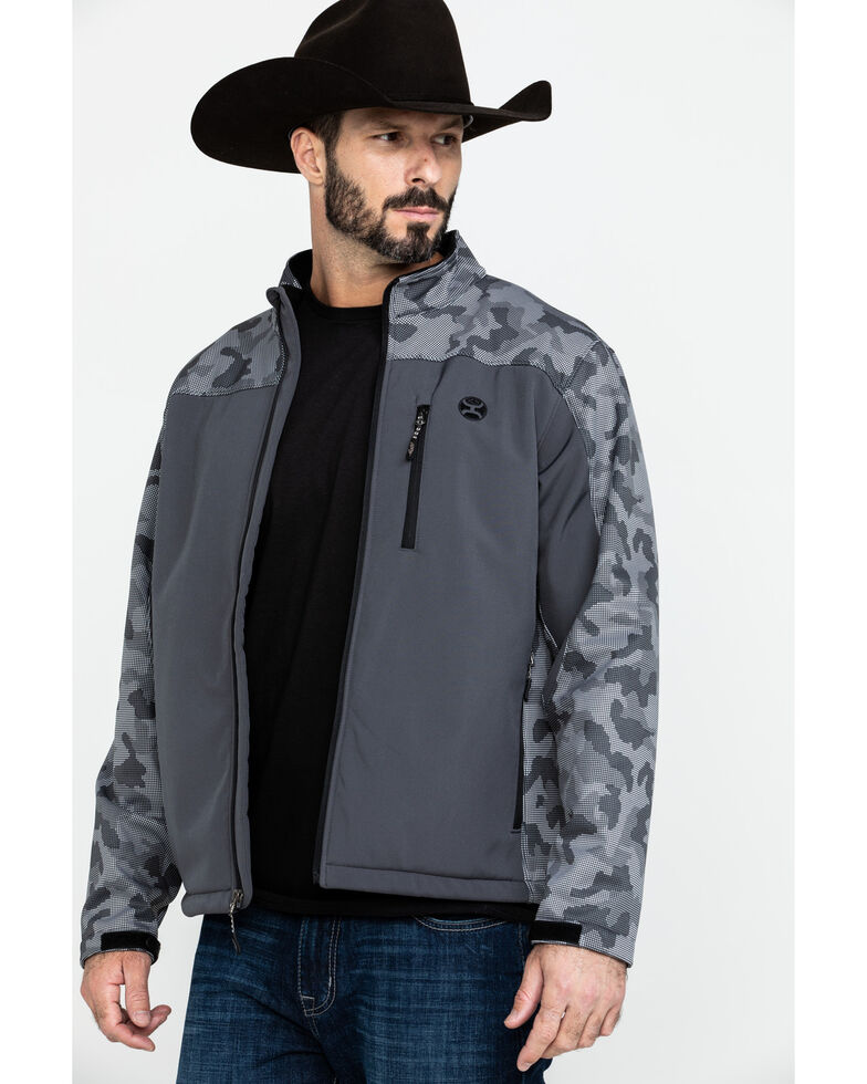 HOOey Men's Charcoal Digital Camo Softshell Jacket , Charcoal, hi-res
