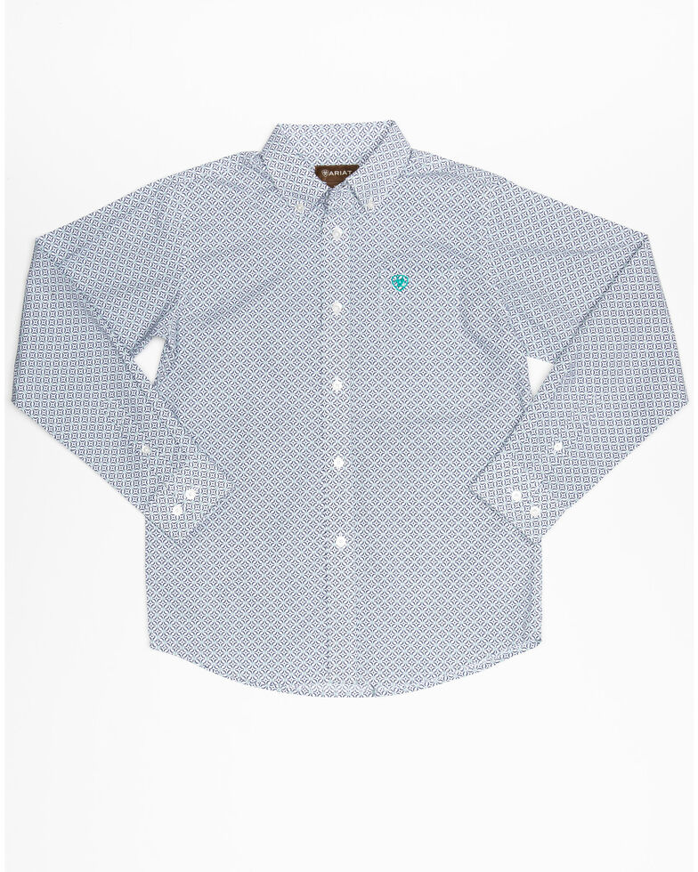 Ariat Boys' Randall Geo Print Button Long Sleeve Western Shirt , White, hi-res