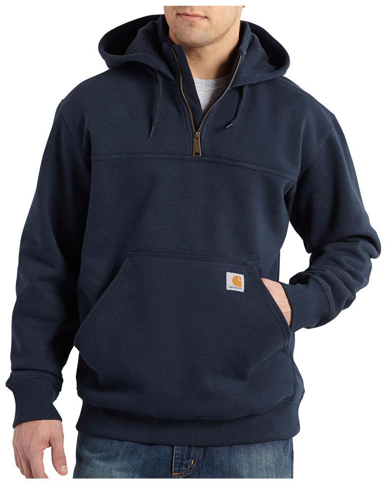Carhartt Rain Defender Paxton Hooded Zip Mock Sweatshirt - Big & Tall, Navy, hi-res