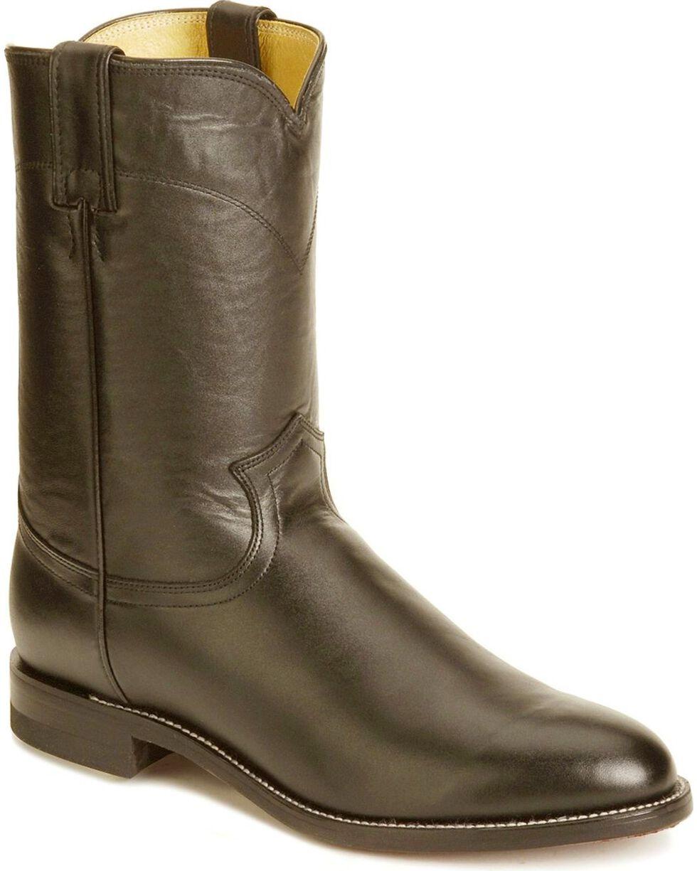 Justin Classic Roper Cowboy Boots - Round Toe, Black, hi-res