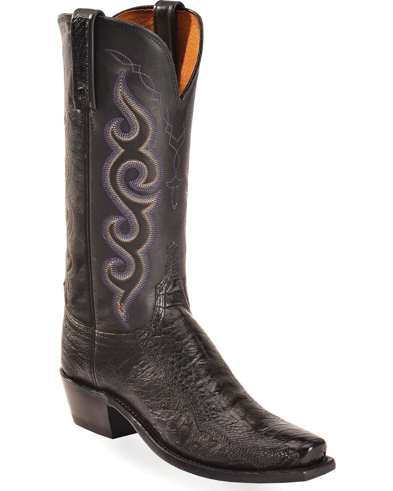 Lucchese Women's Handmade Black Yvette Ostrich Leg Western Boots - Square Toe , Black, hi-res