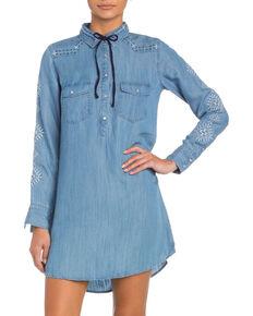 Miss Me Women's Embroidered Pearl Snap Denim Dress, Indigo, hi-res